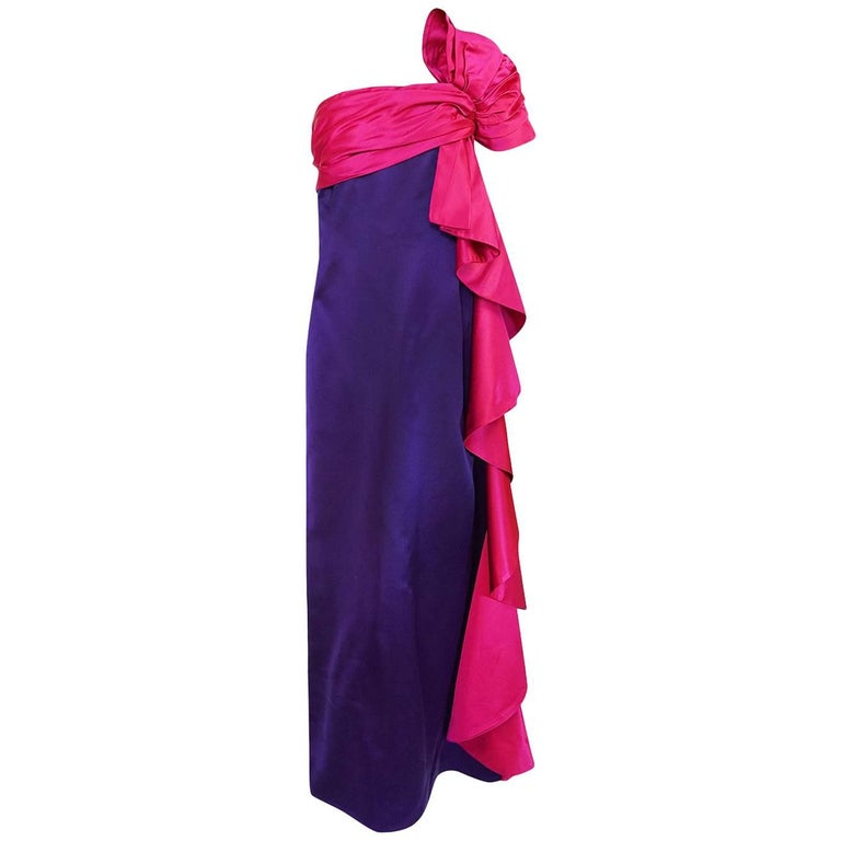Bill Blass Dramatic Pink and Purple Ruffled Bow Silk Dress, 1970s