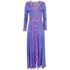 1970s Bessi Purple & Pink Printed Silk Jersey Dress