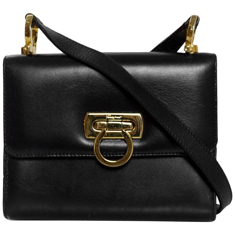 fefb02ef9630 Salvatore Ferragamo Vintage Black Leather Mini Crossbody Bag For Sale