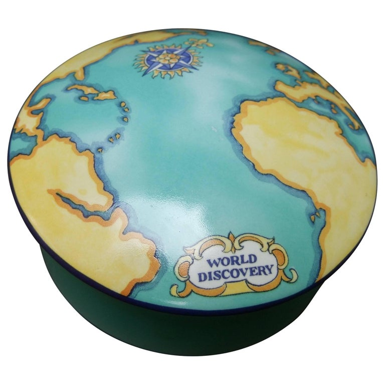 Tiffany & Co. Porcelain Round Map Dish Designed for Tauck World Made In France