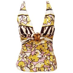 Roberto Cavalli Yellow, Pink Floral Sleeveless Top