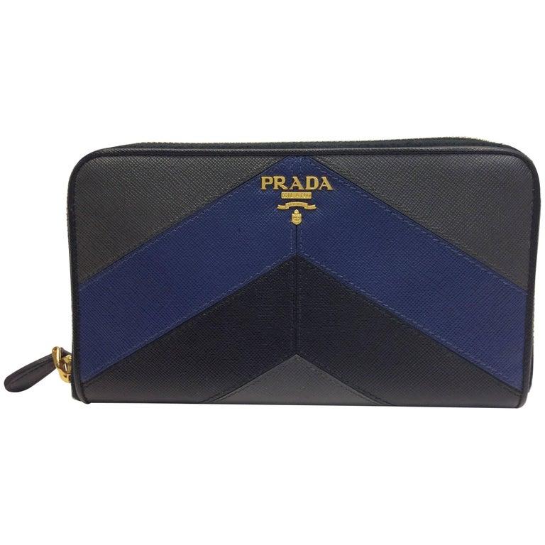 Prada Blue Grey and Black Wallet