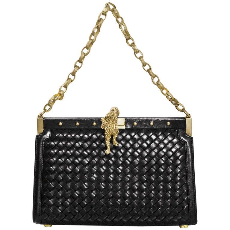 Kieselstein-Cord Black Woven Leather Frame Bag w. Frog