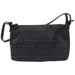 Fendi Black and Brown Shoulder Logo Bag