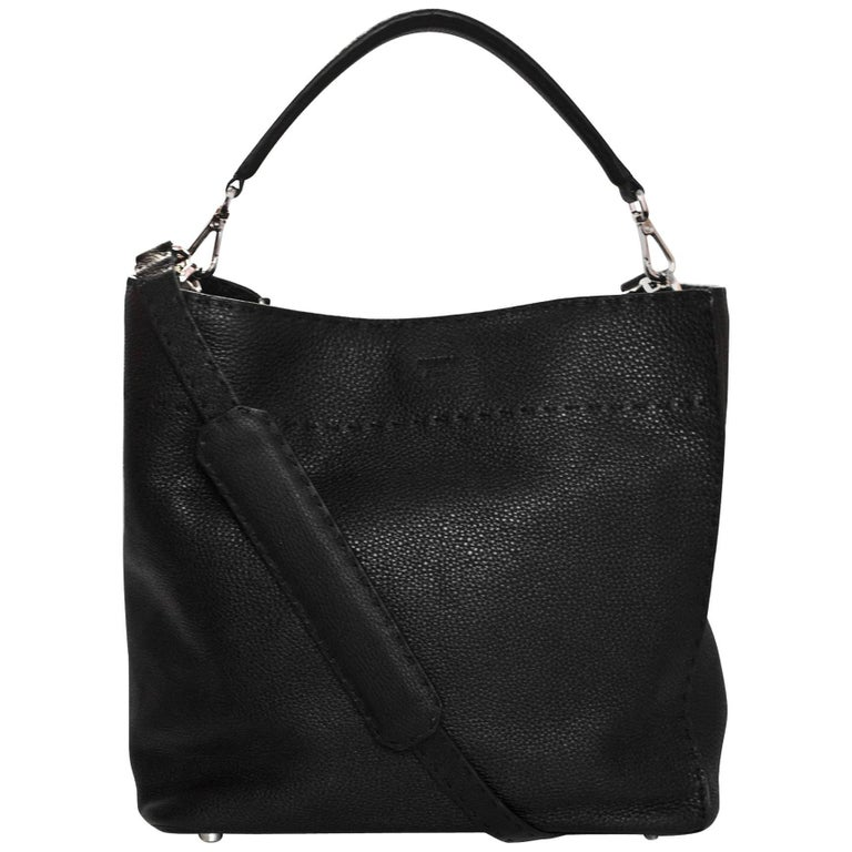 Fendi Black Selleria Leather Anna Hobo Bag w. Strap rt. $2,950