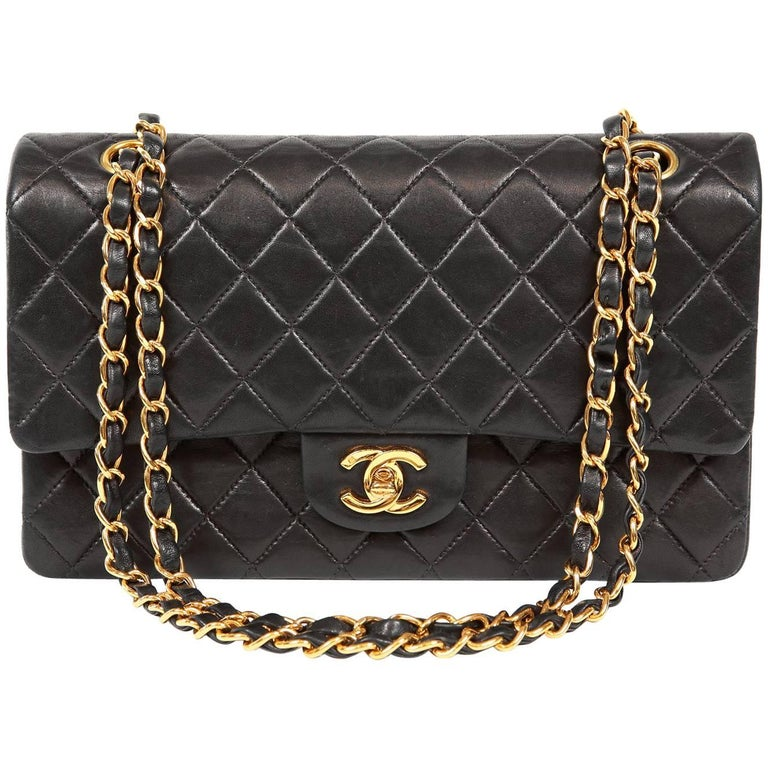 Chanel Black Lambskin Medium Classic Double Flap Bag with Gold Hardware