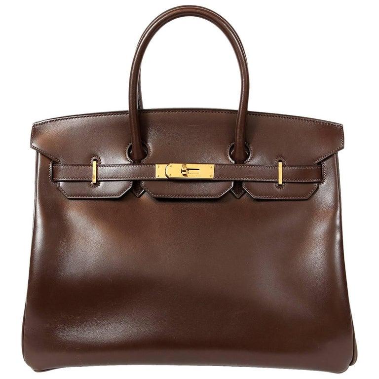 Hermès Chocolate Box Calf 35 cm Birkin Bag