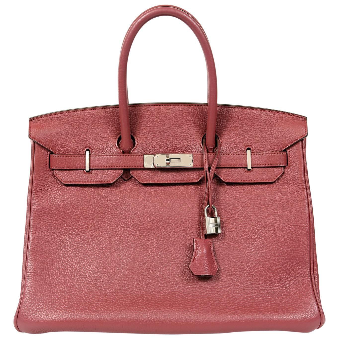 Hermès Bois de Rose Togo Leather 35 cm Birkin Bag