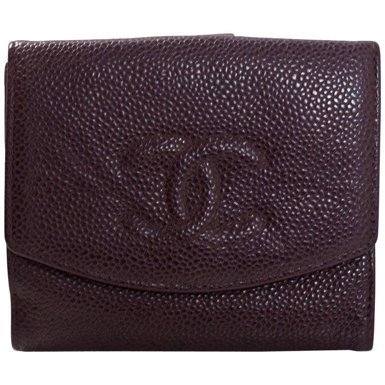 Chanel Deep Eggplant Caviar Leather CC Compact Wallet