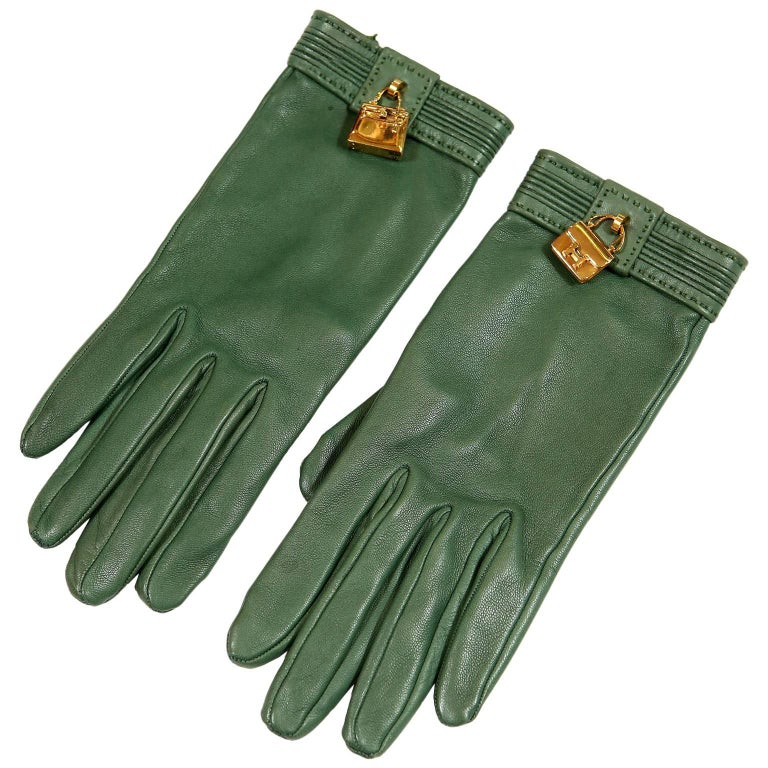 Hermès Green Leather Gloves with Bag Charms