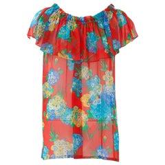 Yves Saint Laurent Silk Chiffon Floral Top