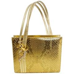 1960s Martin Van Schaak Gold Phoenix Evening Bag with Rhinestone Detail