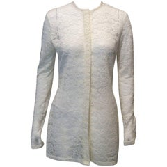 Celine Ivory Sheer Lace Knee-Length Jacket