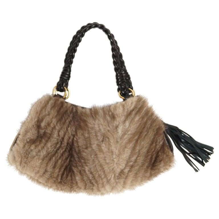 Vintage Paolo Masi Taupe Italian Leather And Fur Trim Handbag For