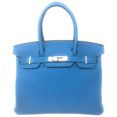 Hermes Birkin 30cm Blue Zanzibar and Green Malachite Bag