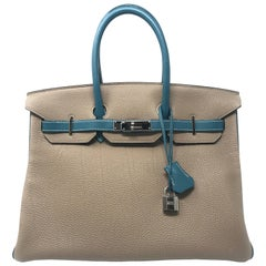 Hermes Birkin 35cm HSS Gris Tourterle and Blue Jean Bag