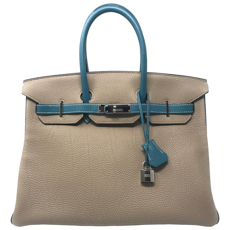 Hermes Birkin 35cm HSS Gris Tourterle and Blue Jean Bag