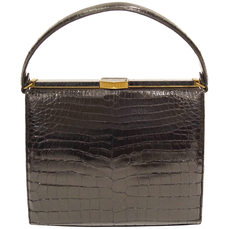 1stdibs Lucille De Paris Large Black Lizard Satchel Handbag VmA9j8cXe