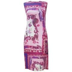 Versatile Versace Collection Pink Print Kisses Sleeveless Dress