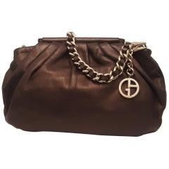 Giorgio Armani Bronze Tone Leather Handbag with Foldable Top Handles