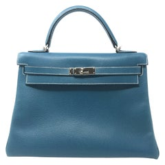 Hermes Kelly 32cm Blue Buffalo Bag