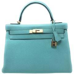 Hermes Kelly 32cm Blue Atoll Bag