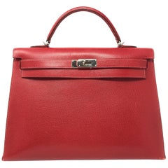 Hermes Kelly 40cm Red Bufflao Leather Bag