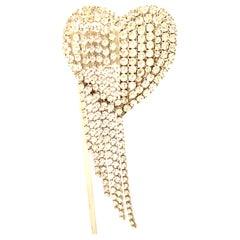 20th Century Silver & Austrian Crystal Heart Brooch
