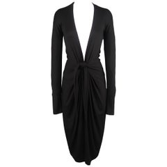 DONNA KARAN Size M Black Jersey Deep V Tied Long Sleeve Dress