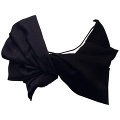 Celine Black and Navy Blue Draped Off the Shoulder Cropped Shirt  Sz Small