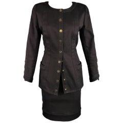 Vintage CHANEL Skirt Suit - Size 8 Black Denim Gold Logo Snap