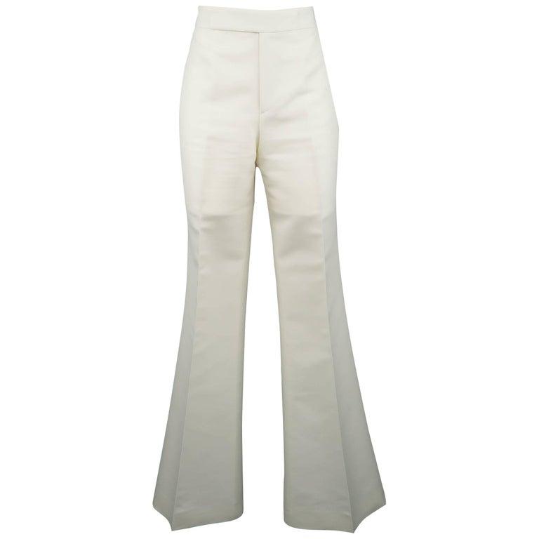 RALPH LAUREN Size 8 Off White Cotton / Silk Flaired Leg Dress Pants