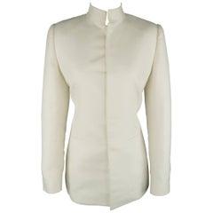 Ralph Lauren Off White Cotton / Silk Nehru Collar Jacket