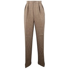 RALPH LAUREN Size 8 Brown Houndstooth High Rise Pleated Wool Dress Pants