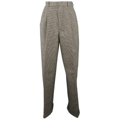 RALPH LAUREN 8 Black & Beige Houndstooth High Rise Pleated Wool Dress Pants
