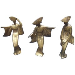 Trio of Japanese Style Geshia Cast Iron Gilded Figures circa 1960
