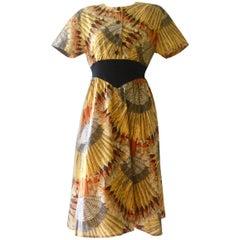 Sorelle Fontana Roma Cotton Feather Print Dress