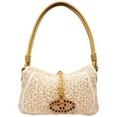Valentino Ivory Raffia Faux Pearls All Over w/Lime Color Handle & Bejeweled