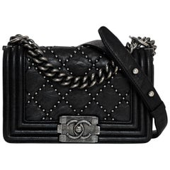 Chanel Black Leather Studded Small Boy Bag