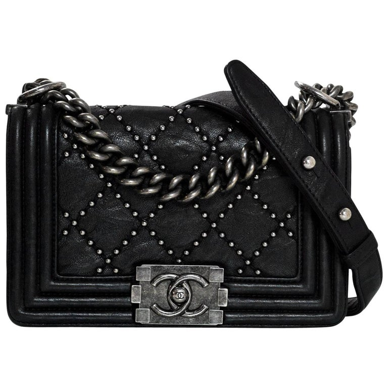 Chanel Black Leather Studded Small Boy Bag