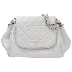 Chanel White Quilted Caviar Timeless Accordion Flap Bag