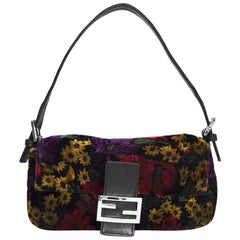Fendi Multi-Colored Floral Print Velvet Baguette