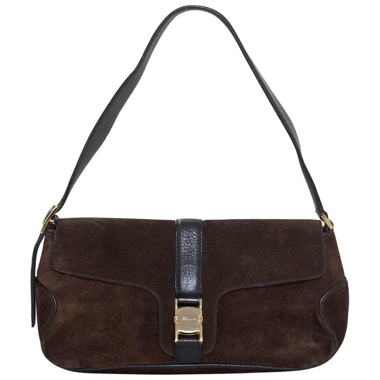 Salvatore Ferragamo Brown Suede & Black Leather Shoulder Bag