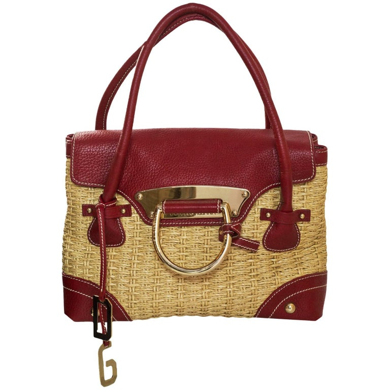 Dolce & Gabbana Raffia & Red Leather Handle Bag