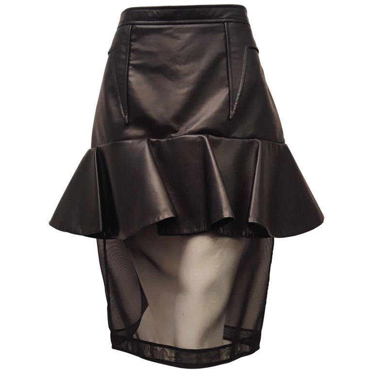 Givenchy Black Leather and Mesh Ruffled Skirt