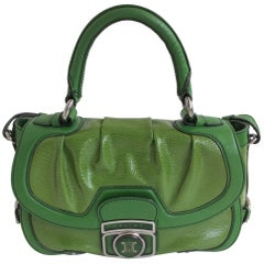 Celine Green Patent Leather Satchel with Shoulder Strap with Silver Hardware