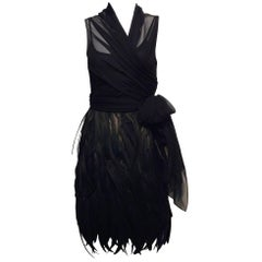 Morgane Le Fay Black Luminous Feather and Chiffon Angel Cocktail Dress