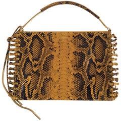 Lanvin Yellow And Black Snakeskin Print Zipped Knot-Fringe Calfskin Clutch