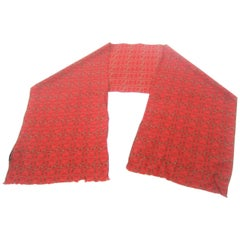 Burberry Red Silk Oblong Scarf, circa 21st Century