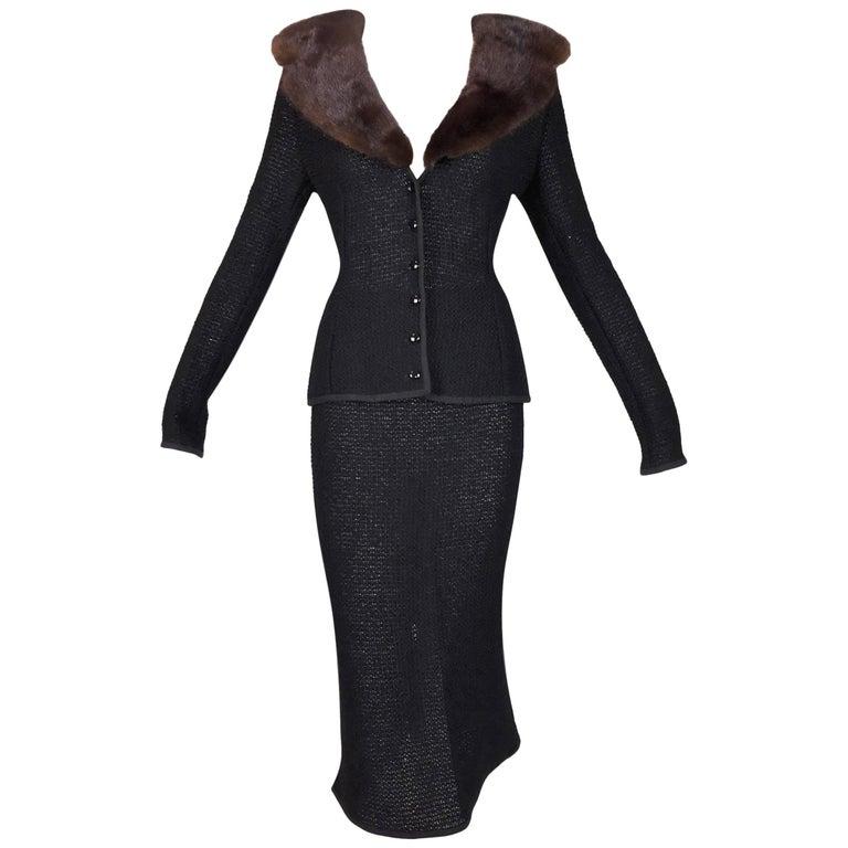 Dolce & Gabbana Pin-Up Black Sheer Knit Skirt and Jacket with Sable Fur